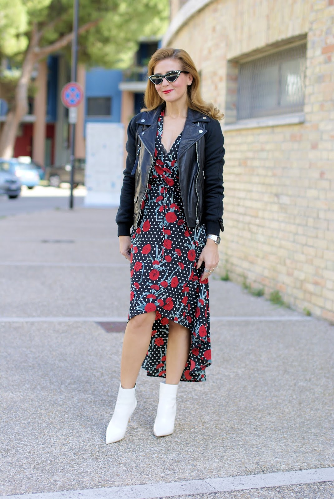 white stiletto ankle boots and polka dots on Fashion and Cookies fashion blog, fashion blogger style