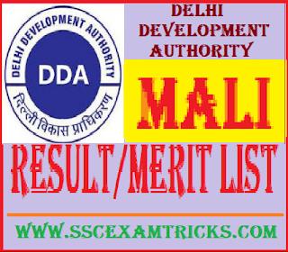 DDA Delhi Mali Result
