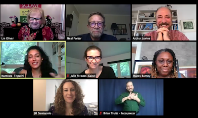 A screen capture of the #SCBWISummerSpec editor panel on Zoom, with Lin Oliver, Neal Porter, Arthur Levine, Namrata Tripathi, Stacey Barney, Julia Strauss-Gabel, and Jill Santopolo
