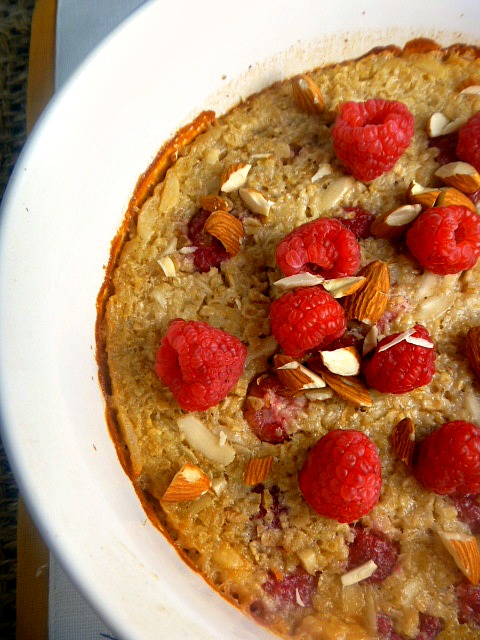Raspberry Almond Baked Oatmeal:  A healthy way to start the day! - Slice of Southern