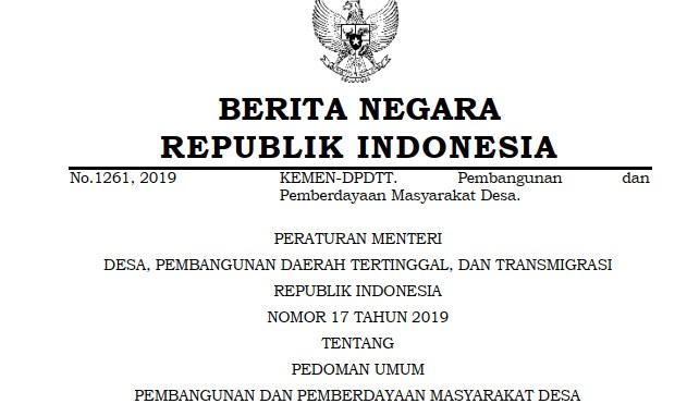 Permendes PDTT RI Nomor 17 Tahun 2019