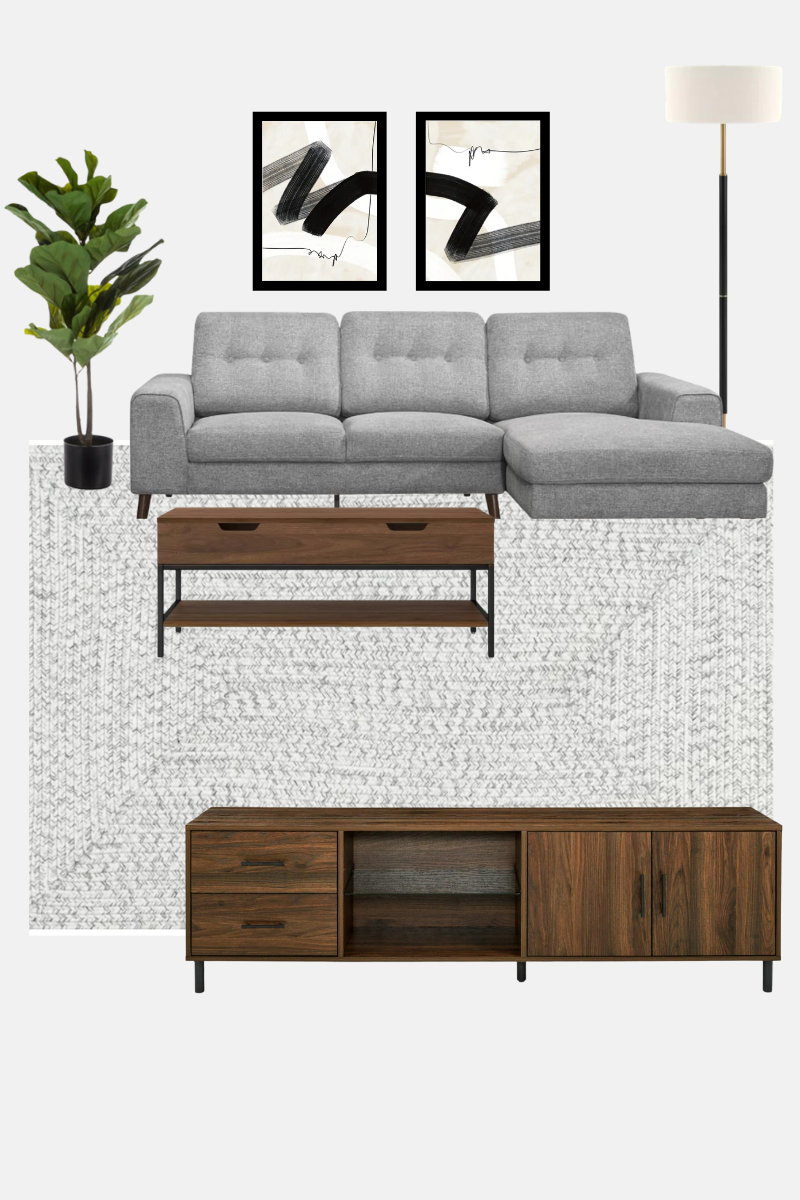 living room layout - neutral modern