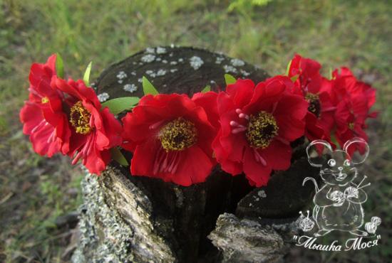 для фотосессии, ободок с цветами, красные цветы
