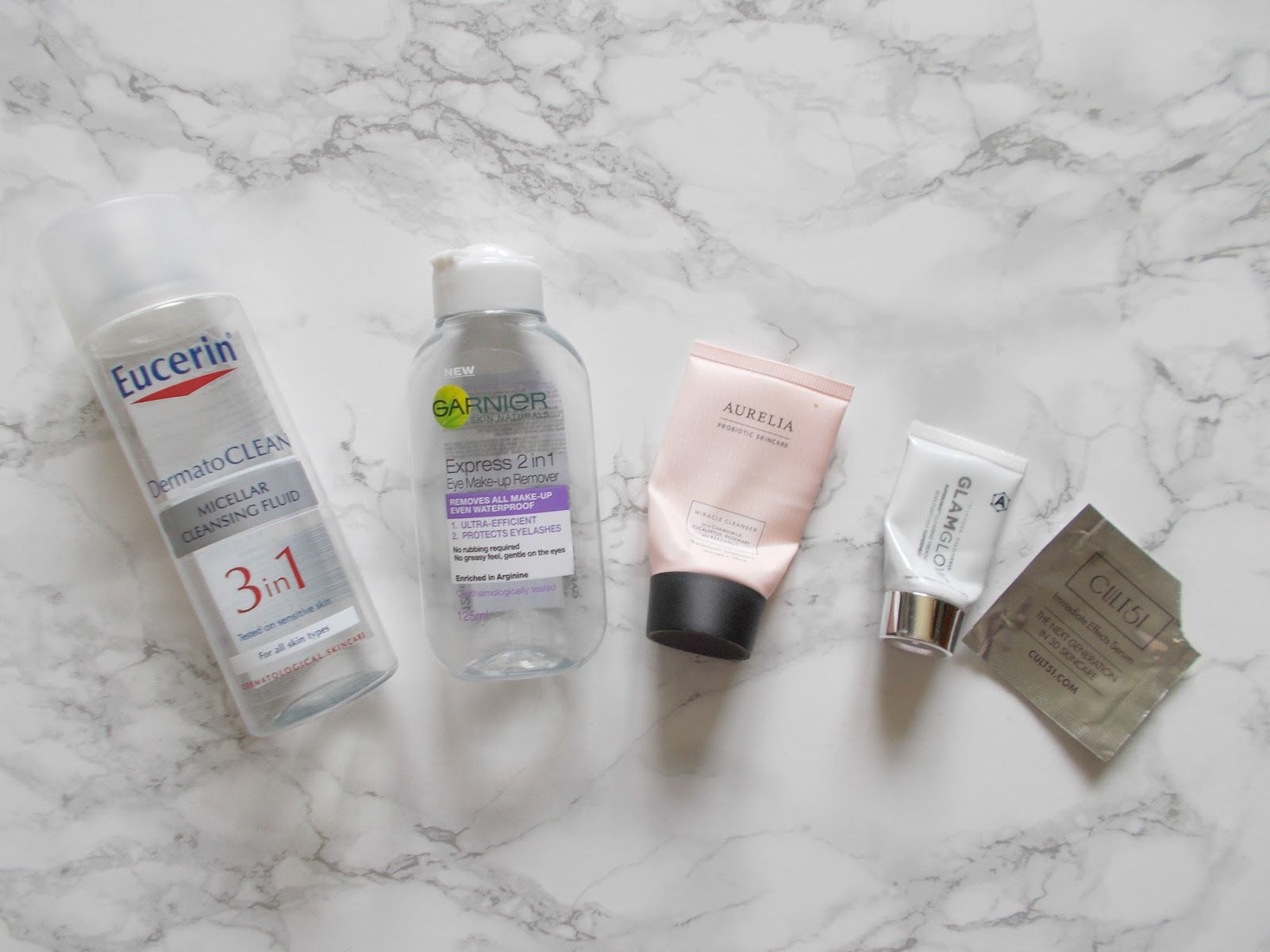 skincare empties review eucerin dermatoclean micellar garnier express eye makeup remover aurelia miracle cleanser glamglow cult 51