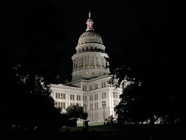 The Texas Capitol by night