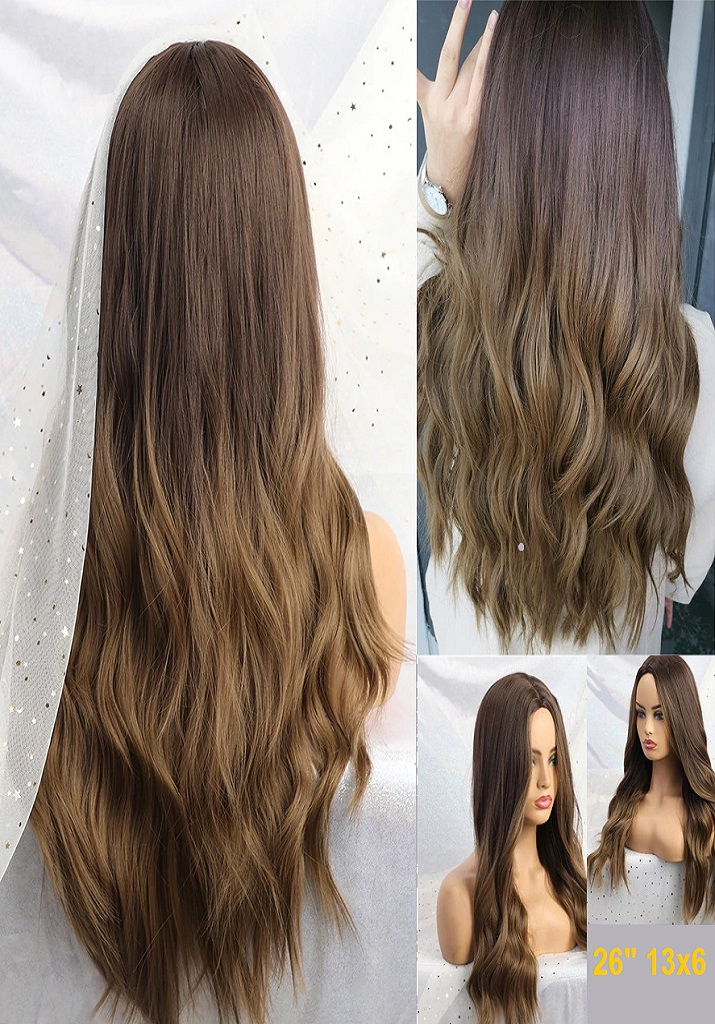 Long Black to Brown Ombre Wigs High Density Temperature Synthetic Wigs Glueless Wavy Cosplay