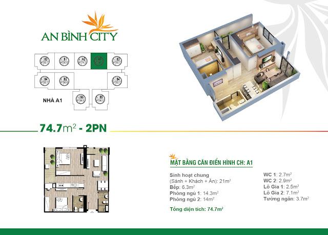 Mặt bằng thiết kế căn hộ 2 ngủ 74m2 An Bình City