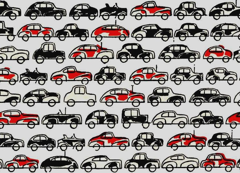 A graphic illustration of cars in 1947