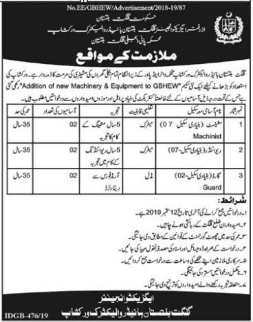Advertisement for the Office of Executive Engineer Jobs