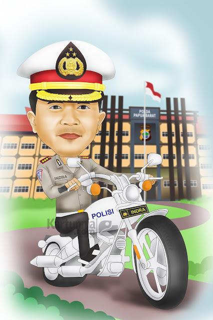 Karikatur Polisi Naik Motor Patroli