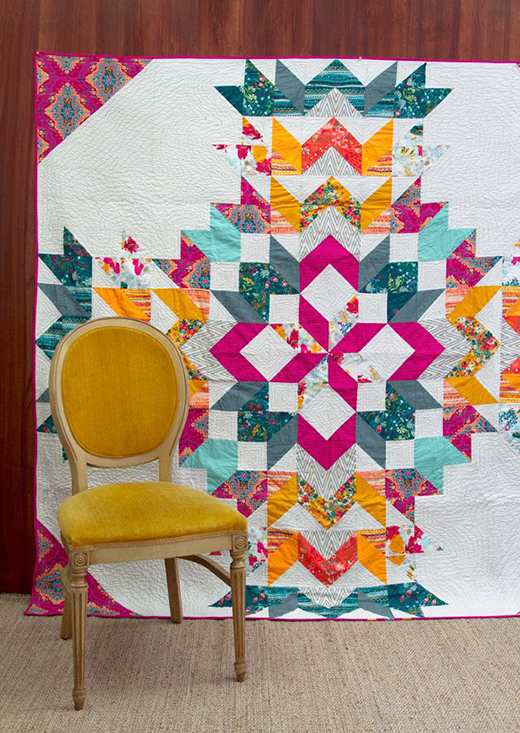 Crossette Quilt designed by Pat Bravo for Live art gallery fabrics, featuring Legendary Collection