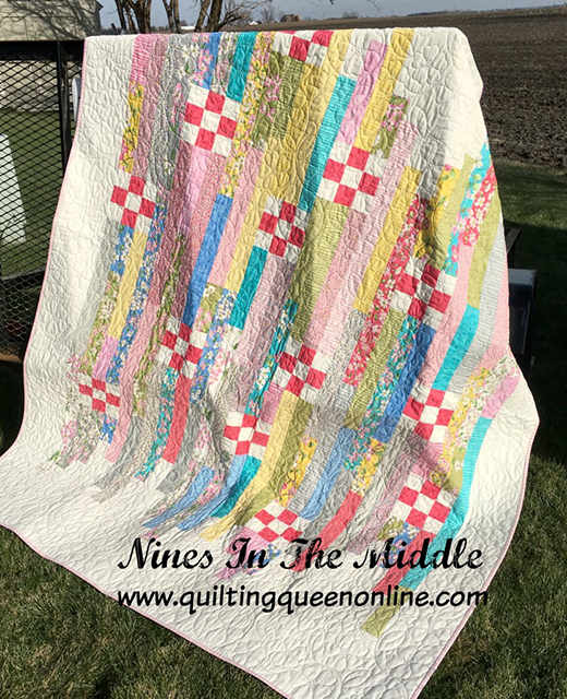Nines in the Middle Jelly Roll Quilt designed by Doris Rice of The Quilting Queen Online for Moda Fabrics