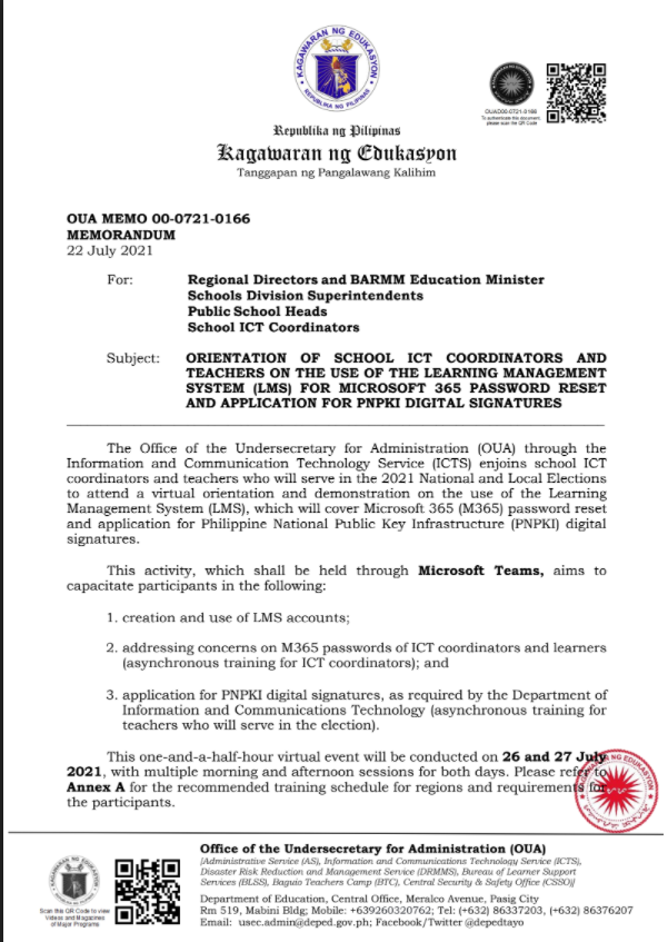 DepEd Memorandum   Orientation Of School ICT Coordinators And Teachers On The Use Of The Learning Management System (LMS) For Microsoft 365 Password Reset And Application For PNPKI Digital Signatures