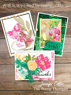 These three gorgeous cards use Stampin' Up!'s Expressions in Ink Suite (Artistically Inked Bundle, Expressions in Ink 12x12 Specialty Designer Series Paper, & Expressions in Ink Ephemera Pack), Gold & Rose Gold Metallic Specialty Paper, Just Jade & Gold Braided Ribbon, and Simply Elegant Trim.  Video, measurements, and supply list on the blog.  #StampinUp #ArtisticallyInked #StampTherapist