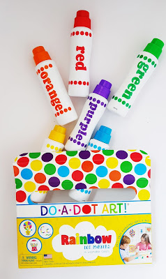 Do a dot art markers rainbow review for little kids , 6 markers red,orange,yellow,green,blue and purple