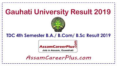 Gauhati University Result 2019, GU Result 2019, TDC 4th Sem result 2019 B.A, B.Com, B.Sc