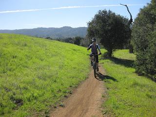 Ms. T biking along a dirt trail at the Arastradero Preserve, Palo Alto, California