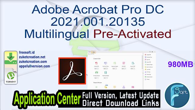 Adobe Acrobat Pro DC 2021.001.20135 Multilingual Pre-Activated