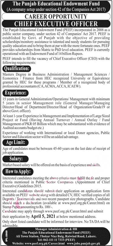Latest Jobs in Punjab Educational Endowment Fund Peef Lahore