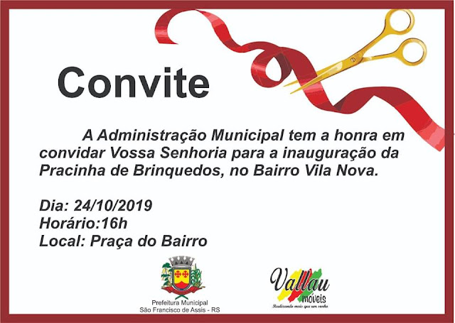 INAUGURAÇÃO DA PRACINHA DE BRINQUEDOS, NO BAIRRO VILA NOVA
