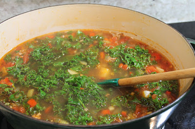 Spicy Italian Sausage Soup Cooking.