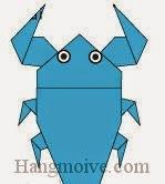Bước 21: Vẽ mắt để hoàn thành cách xếp con Cà Cuống bằng giấy theo phong cách origami.
