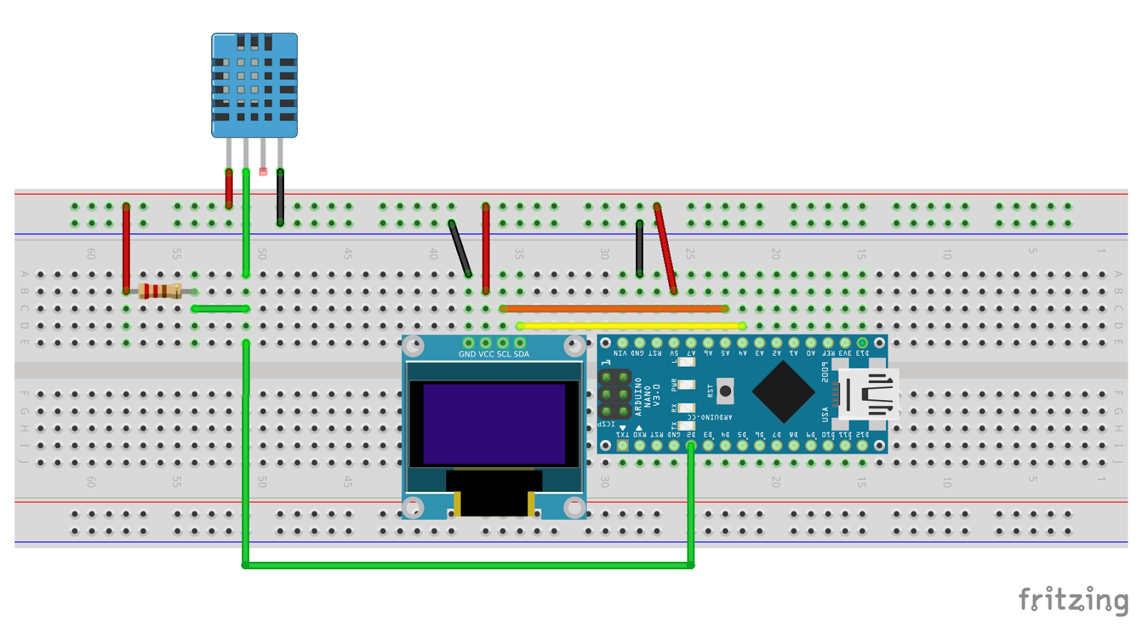 Arduino-er: Temperature & Humidity monitor using Arduino NANO +