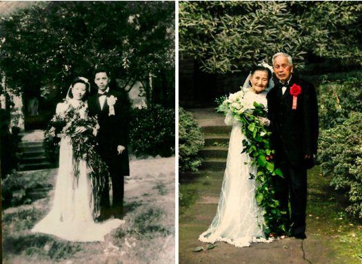 زوجان يحتفلان بعيد زواجهما السبعين و يقرران إعادة يوم زفاهما مرة أخرى في نفس المكان بارتداء نفس الفتسان والبدلة