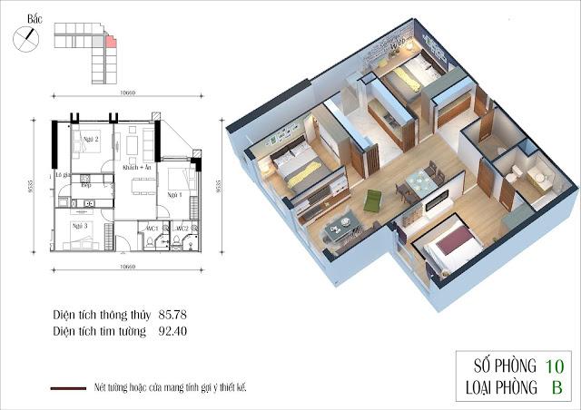 Thiết kế căn 10 tòa CT2 Eco Green City