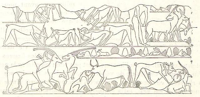 Leones y perros cazando. (Jaques de Morgan, Recherches sur les origines de l'Égypte; l'âge de la pierre et les métaux)