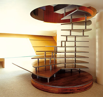 wooden spiral stairs designs with aluminium structure