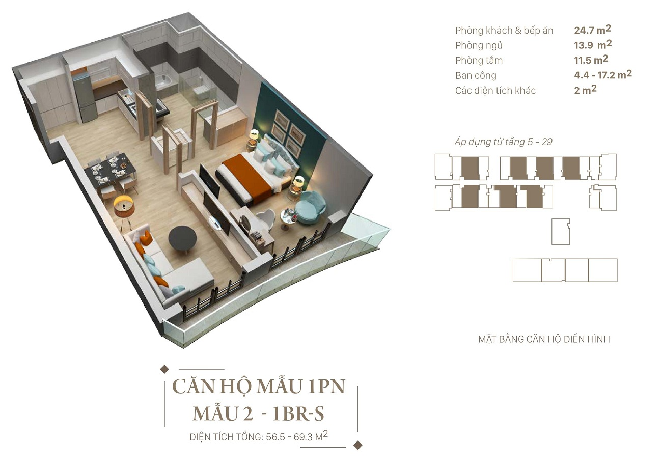 Mẫu thiết kế căn 1 ngủ