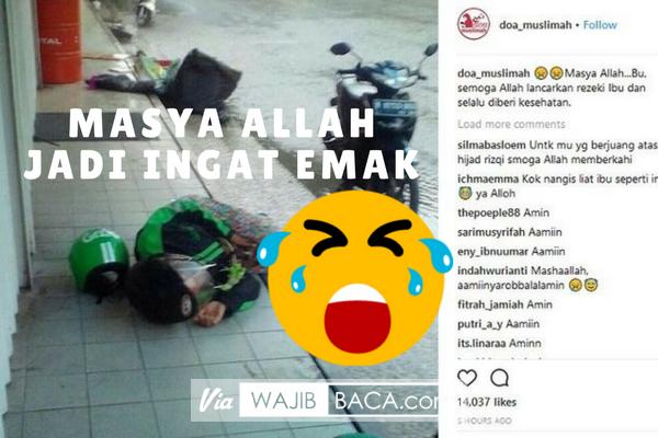 Viral Foto Driver Ojol Wanita Tergeletak di Pinggir Jalan, Netizen: Kok Nangis Lihat Ibu Seperti ini