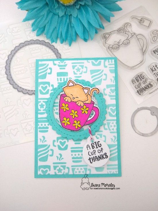 A big cup of thanks by Diane features Newton's Mug,  Mugs, Circle Frames, Tags Time Twos, and Dainty Daisies by Newton's Nook Designs; #newtonsnook, #inkypaws, #cardmaking, #coffeelovers, #catcards, #thankyoucards