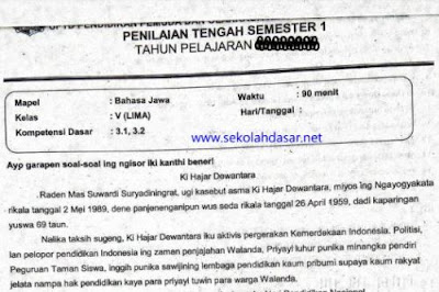 Soal UTS Penilaian Tengah Semester 1 Bahasa Jawa Kelas 5