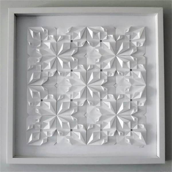 framed, all-white modular origami wall art