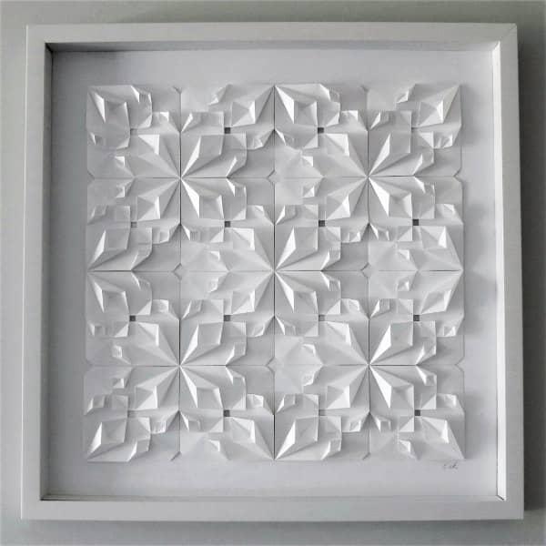 framed, all-white modular origami wall art