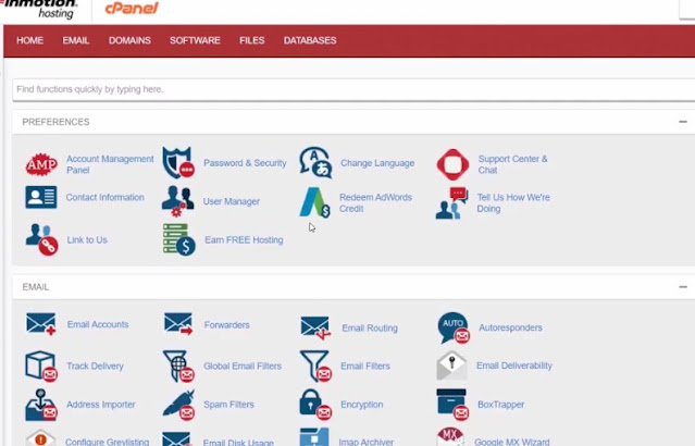 visit cpanel from the dashboard of inmotion hosting