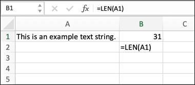 مثال على صيغة Excel باستخدام الدالة LEN ، لحساب طول سلسلة نصية.