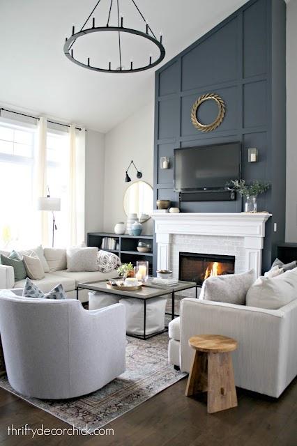 cyberspace dark blue fireplace family room