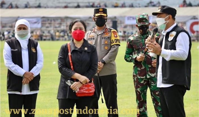 Forkopimda Jatim Dampingi Ketua DPR-RI Mengecek Vaksinasi di Surabaya