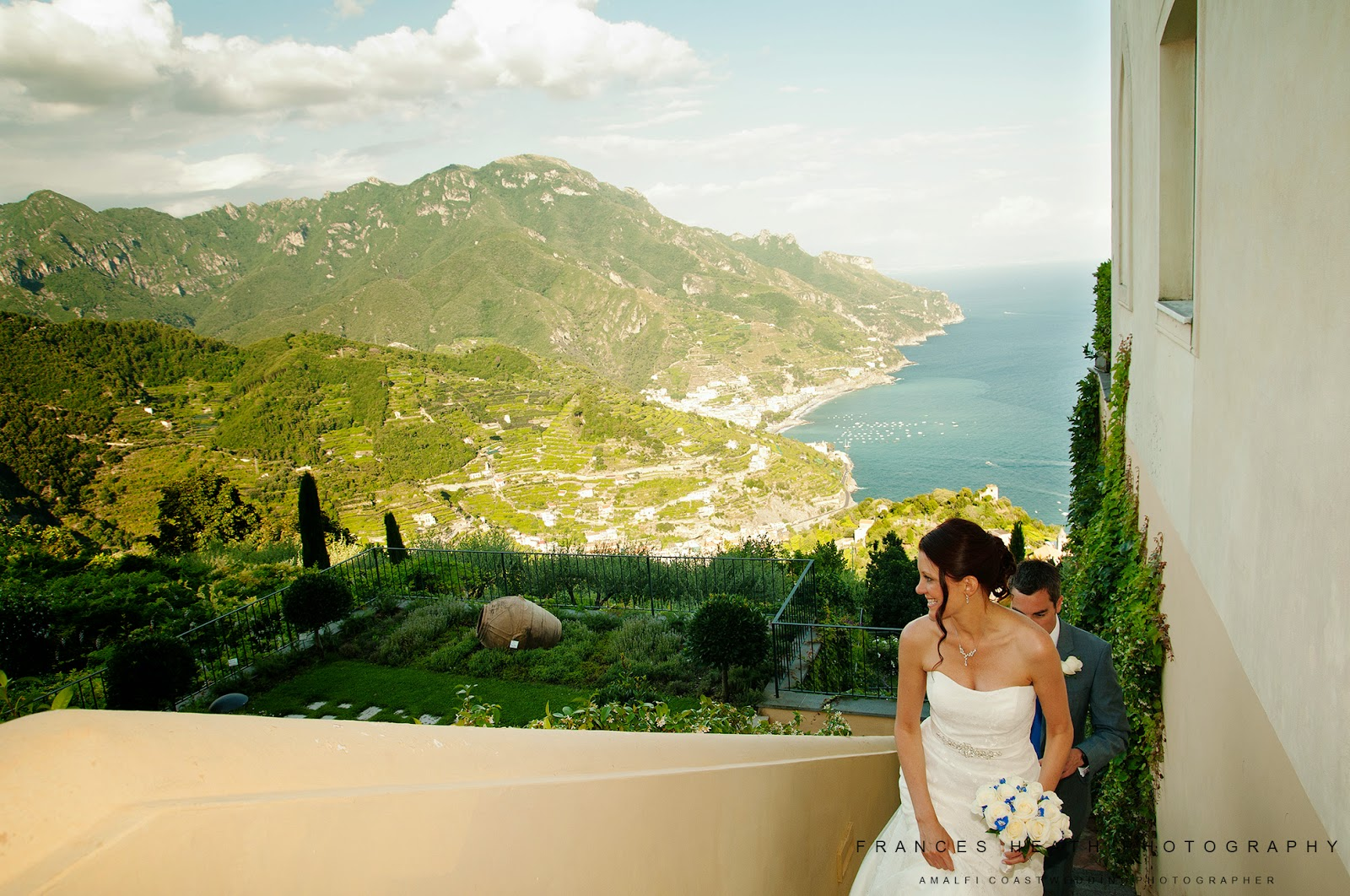 Bride and groom at Hotel Caruso