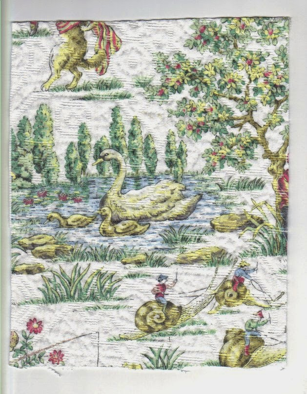Dollhouse bedspread fabric shows one-way design with swans