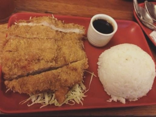 A plate of tonkatsu and rice at Crazy Katsu