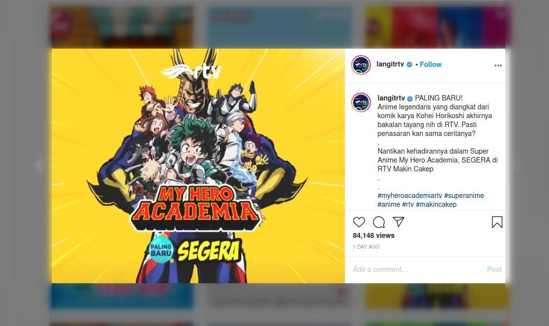 Anime My Hero Academia Tayang di TV Indonesia