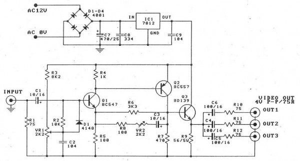 Splitter And Amplifier Video Circuit Diagram Electronic