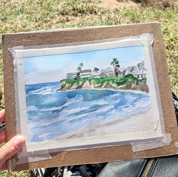 beach scene watercolor sketch