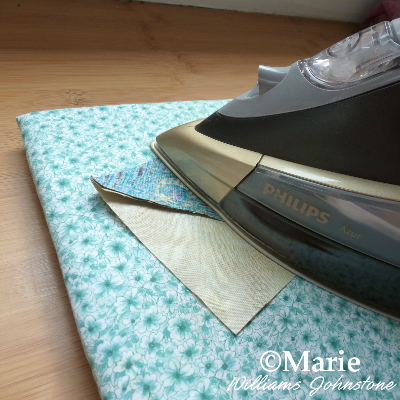 ironing seams pressing seam on my mini DIY ironing pad