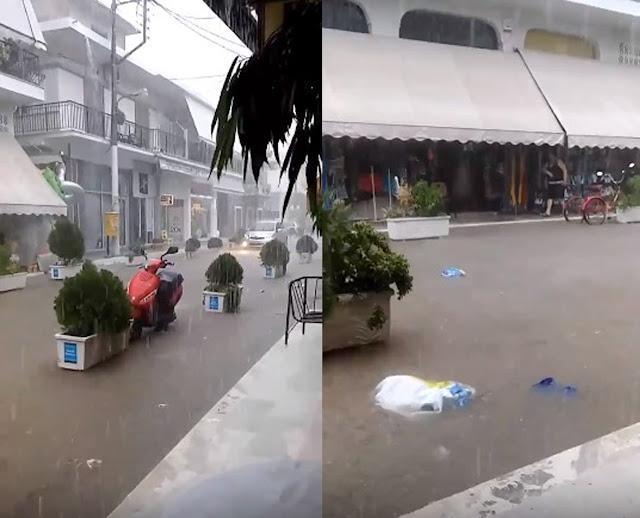 Σφοδρή καταιγίδα στο Τολό - Πλημμύρισαν δρόμοι (βίντεο)