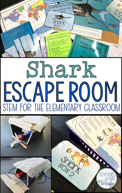 Are your elementary students loving Escape Rooms or Locked Box challenges? Mine beg for more! So, are you ready? This activity will be perfect for your study of sharks! For this Escape Room, the information within the tasks is all about sharks! It's an Unlock the Box Challenge with a Science-based theme! #sharks #elementary #escaperooms